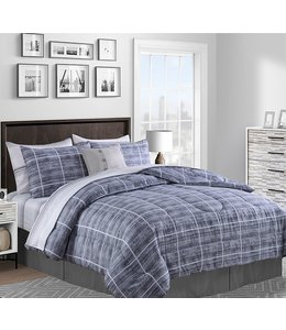 LAUREN TAYLOR *STRATFORD 8PC COMFORTER SET GREY (MP2)