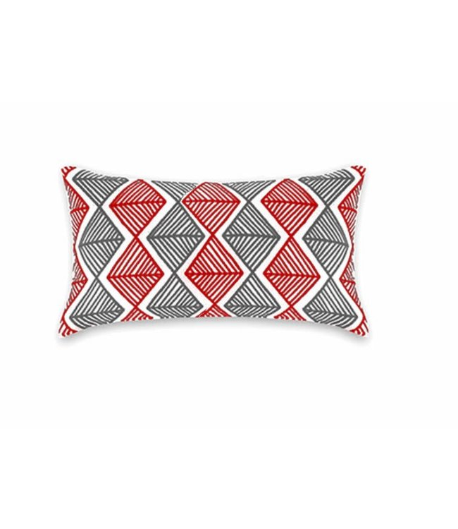 "DIAMOND COLLECTION OUTDOOR LUMBAR CUSHION GREY/RED 13X19"" (MP8)"