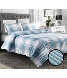 LAUREN TAYLOR NICOLE REVERSIBLE PLAID QUILT SET (MP2)