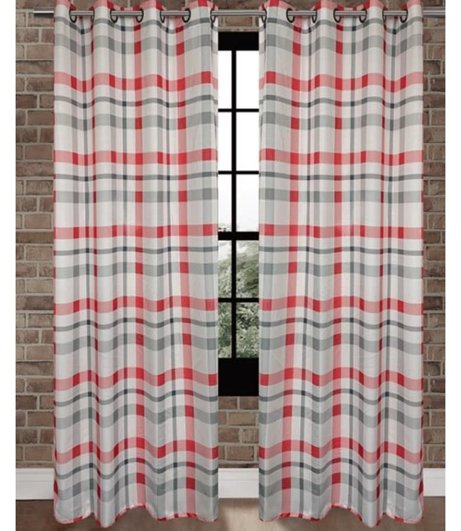 "LAUREN TAYLOR BELLEVUE 2pk FAUX LINEN GROMMET PANEL 52X84"" (MP6) RED"
