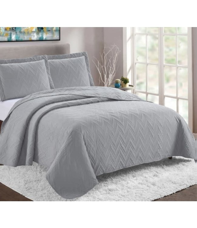 *LYON 3pc QUILT SET SILVER (MP2) DOUBLE/QUEEN