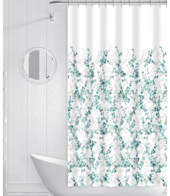 LAUREN TAYLOR ORALIE PRINTED FABRIC SHOWER CURTAIN TEAL (MP12)
