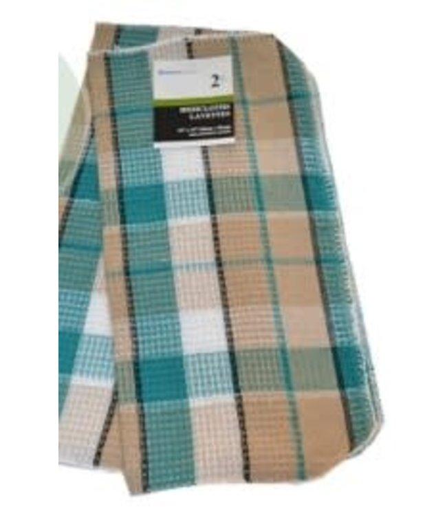"2PK CHECK DISH CLOTH GREEN 14X14"" (MP72)"