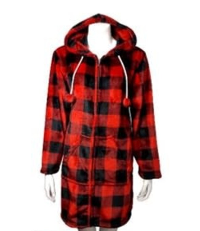 BUFFALO PLAID ZIP UP LOUNGER RED/BLACK (MP12)