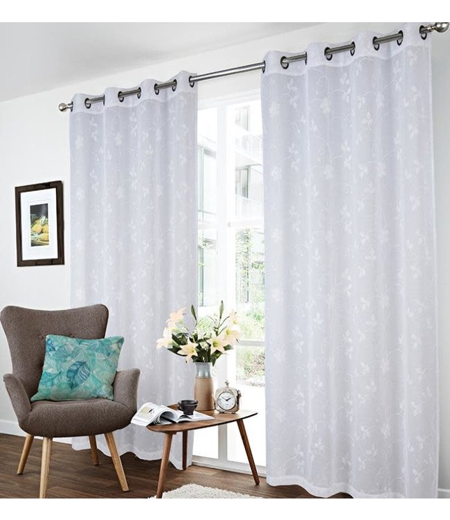 """LAUREN TAYLOR LANA 2PK FLORAL EMBROIDERED SHEER GROMMET TOP WINDOW PANEL (MP6) 52X84"""" WHITE"""