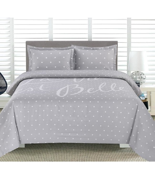 ADRIEN LEWIS LA VIE EST BELLE PRINTED DUVET COVER SET GREY (MP2)