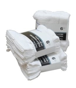 WHITE TOWELS 6pk FACE CLOTH (MP48)