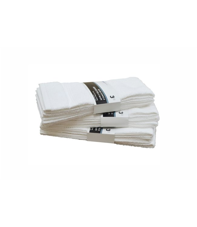 WHITE TOWELS 3pk HAND TOWEL (MP48)