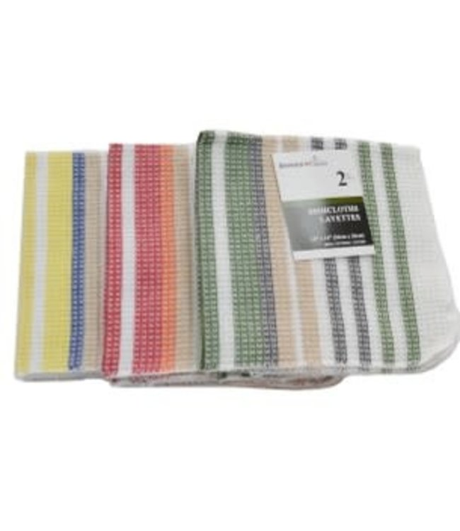 "*2PK MULTI STRIPE DISH CLOTH AST 14X14"" (MP144)"