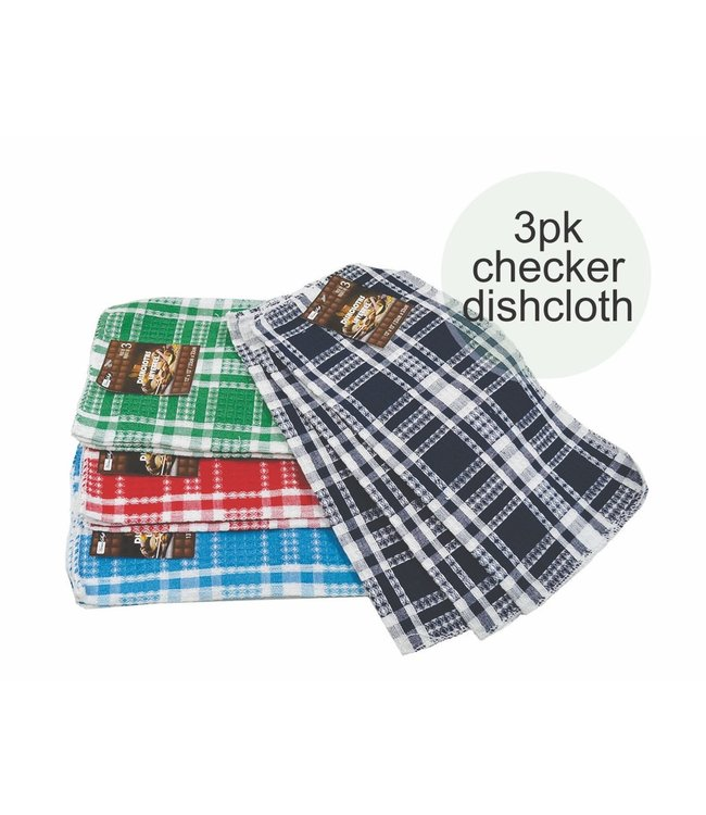 "*CHECKERED 3pk DISH CLOTH AST 13X13"" (MP96)"