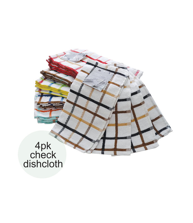 "TERRY 4PK CHECK DISHCLOTH AST 12X12"" (MP48)"