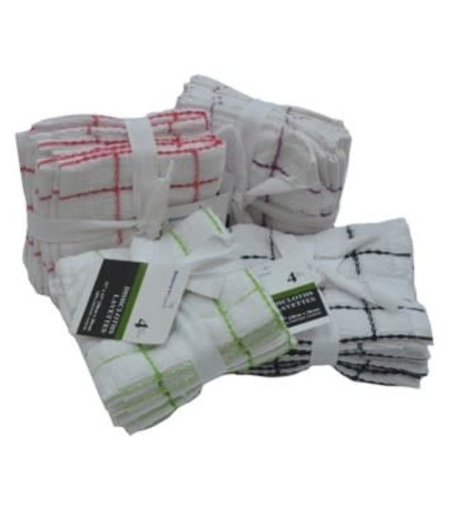 "4PK WHITE w/CHECK DISH CLOTH AST (GREEN/BLACK/RED/ROSE) 11X11"" (MP48)"