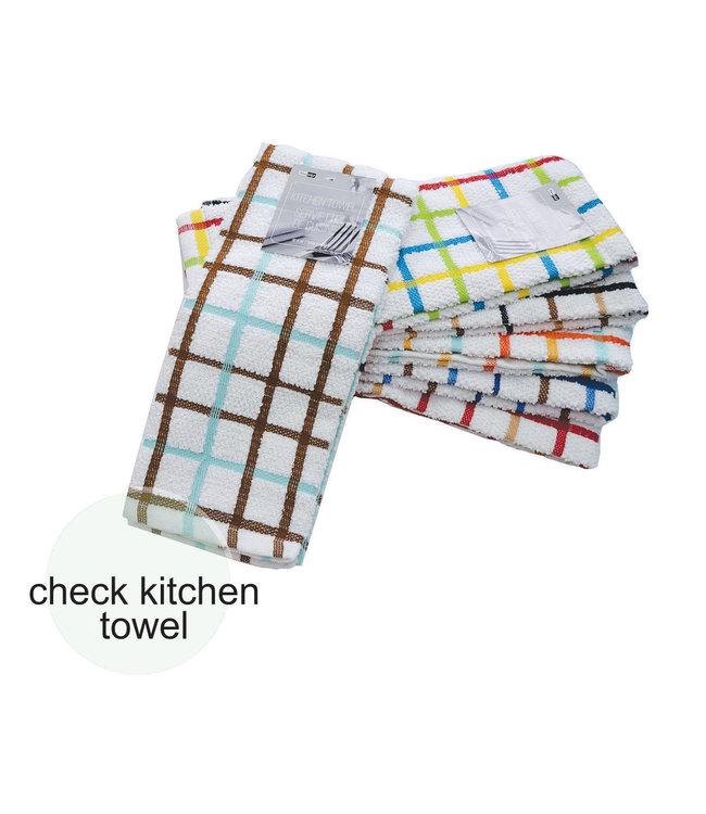 "CHECK KITCHEN TOWEL WHITE 15X26"" (MP48)"