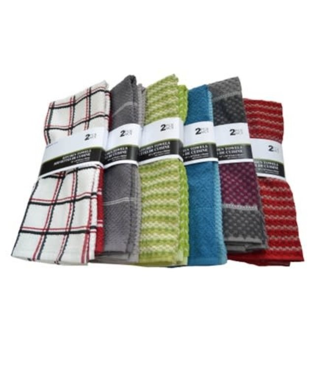 "ASSORTED 2PK JACQUARD KITCHEN TOWEL 16X26"" (MP48)"