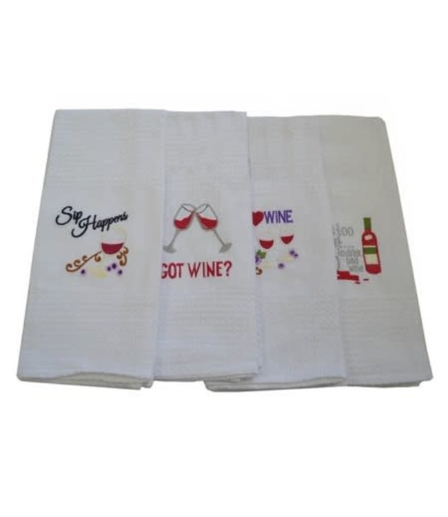 "EMBROIDERED WINE KITCHEN TOWEL 18X28"" (MP72)"