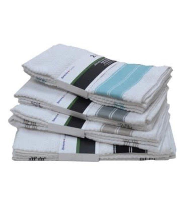 2pk WHITE KITCHEN TOWEL w/DOUBLE STRIPE AST 18X26 (MP48)