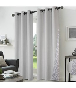 "LAUREN TAYLOR ROBERTA FAUX LINEN REVERSE TO PRINTED WINDOW PANEL GREY 38X84"" (MP12)"