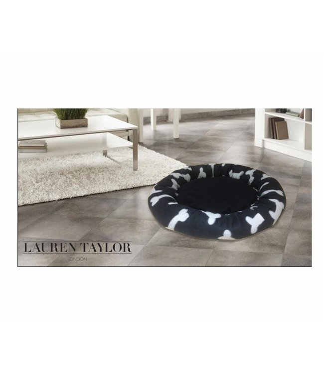 "*ROUND PET BED BLACK/WHITE 18"" (MP6)"