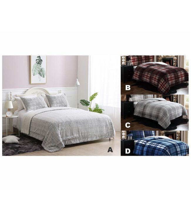 LAUREN TAYLOR 3pc FLEECE/SHERPA COMFORTER SET AST (MP6) DOUBLE/QUEEN