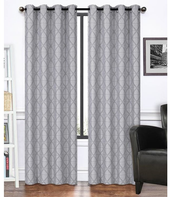 "LAUREN TAYLOR *MANCHESTER 2PK JACQUARD GROMMET WINDOW PANEL (MP12) 52X84"" GREY"