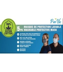 5pk SOLID COTTON FACE MASK w/EAR LOOP & ADJUSTABLE NOSE PIECE AST (MP100)
