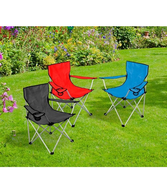 "SOL DE MARE FOLDING CAMPING CHAIR w/CUP HOLDER AST 33X33X20"" INCLUDES CARRY BAG(MP6)"