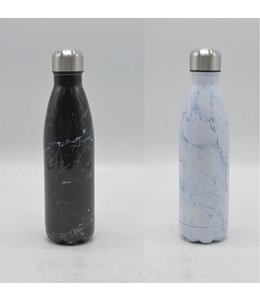 LAUREN TAYLOR STAINLESS STEEL MARBLE LOOK WATER BOTTLE 500ml AST (MP12)