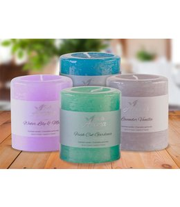 "BELLE AROMA SCENTED PILLAR CANDLES AST 2.75X3"" (MP12)"