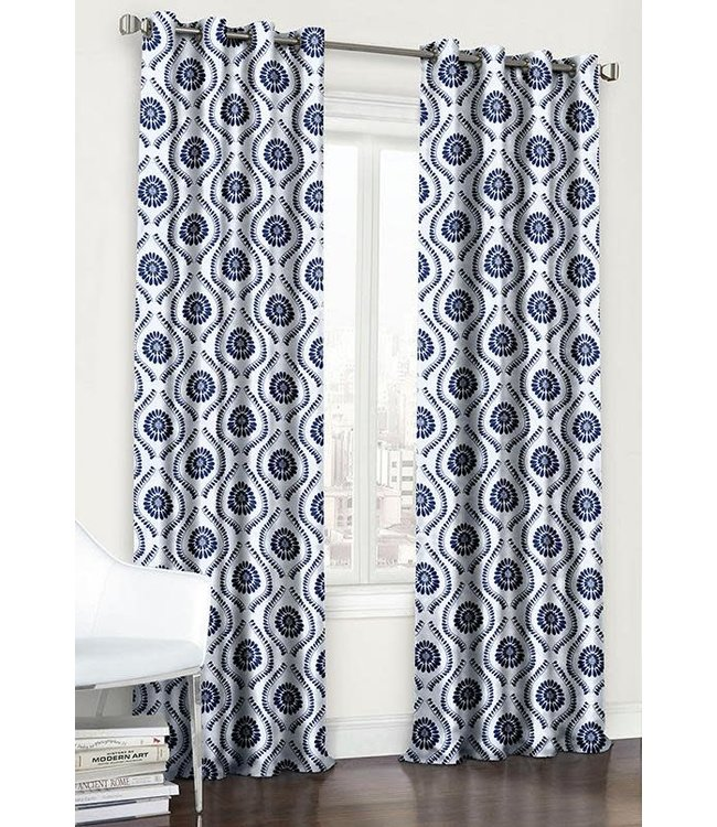 LAUREN TAYLOR 2 PK VALENCIA BLACKOUT GROMMET PANELS BLUE (MP6) 54X84""