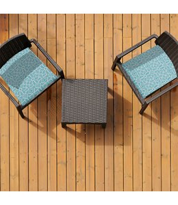 "SOL DE MARE ROSCO 2pk CHAIR PAD TEAL 17X17"" (MP8)"