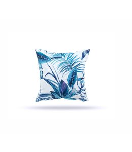 "SOL DE MARE PALM LEAF SQUARE CUSHION BLUE 17X17"" (MP12)"
