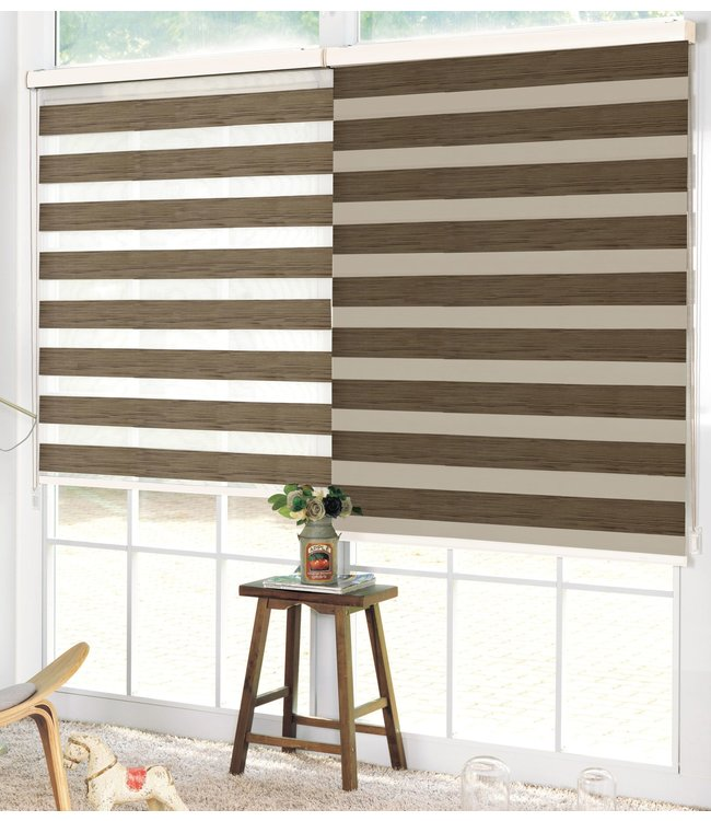 LAUREN TAYLOR WOOD LOOK DAY AND NIGHT ROLLER BLINDS
