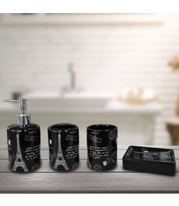 LAUREN TAYLOR PARIS CHIC 4PC BATHROOM ACCESSORY SET BLACK (MP12)
