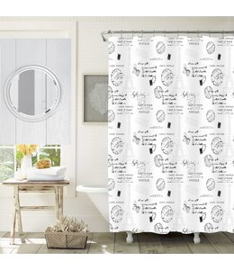 "LAUREN TAYLOR PARIS CHIC SHOWER CURTAIN WHITE 70X72"" (MP12)"