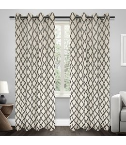 "LAUREN TAYLOR JACKIE 2pk FAUX LINEN PRINTED WINDOW PANEL GREY 52X84"" (MP12)"