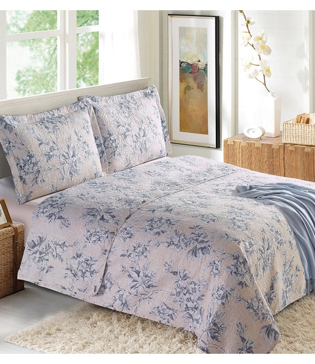 LAUREN TAYLOR CHARLIZE QUILT SET (MP4) GREY