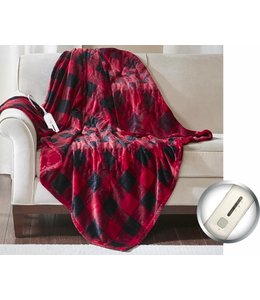 RUSTIC CABIN BUFFALO PLAID ELECTRIC HEATED THROW 45X60""