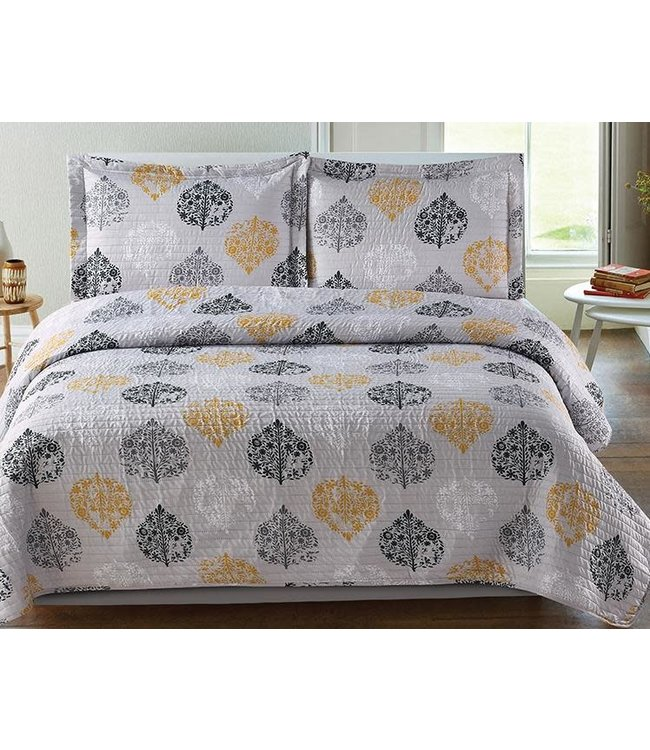 LAUREN TAYLOR SELMA QUILT SET GREY/YELLOW (MP2)