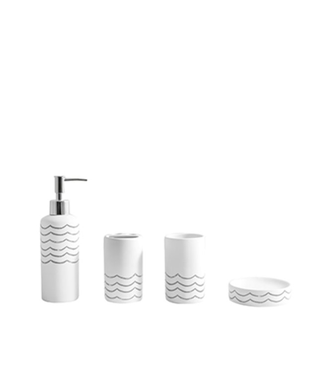 LAUREN TAYLOR WAVES 4PC BATHROOM ACCESSORY SET AST (MP12)