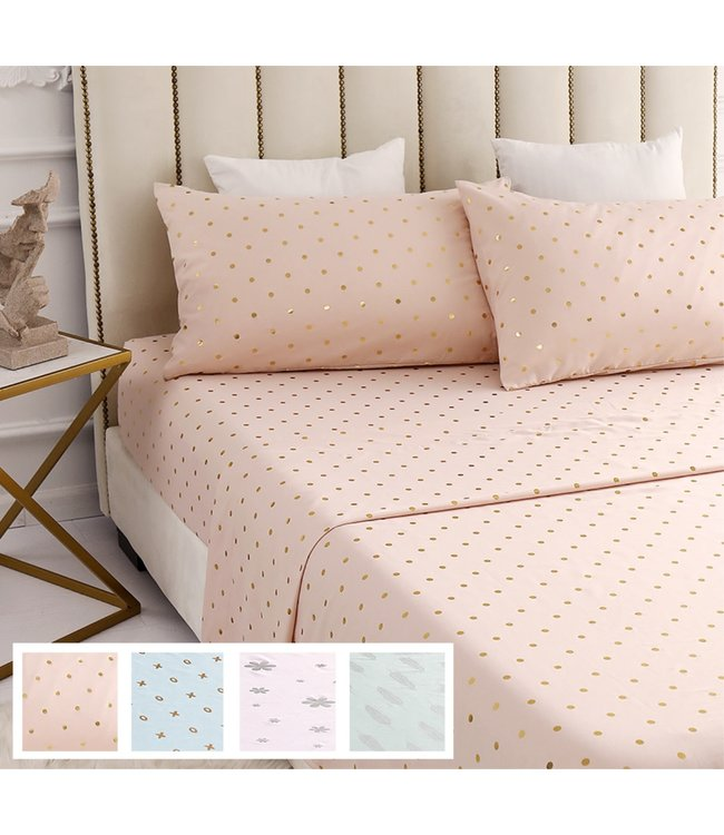 LAUREN TAYLOR METALLIC PRINT MICROFIBER SHEET SET (MP8)