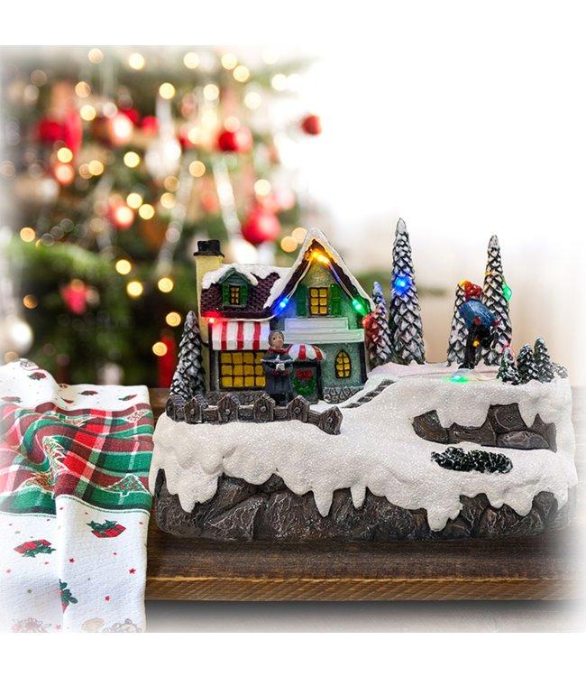 "LAUREN TAYLOR CHRISTMAS MUSICAL VILLAGE w/CHILD SKATING MULTI 7.5X4X5"" (MP6)"