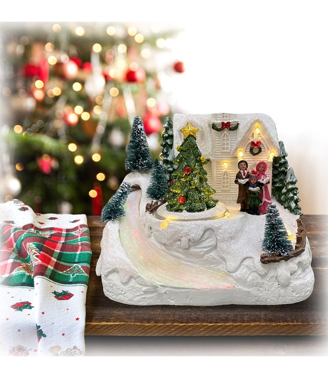 "LAUREN TAYLOR CHRISTMAS MUSICAL VILLAGE w/TREE AND RIVER WHITE 9X5.5X7.5"" (MP6)"