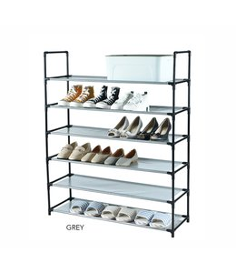 "STUDIO 707 6 TIER SHOE RACK w/FABRIC SHELVES 34X11X42"" (MP10)"