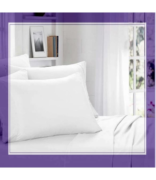LAUREN TAYLOR LAVENDER SCENTED COTTON WHITE SHEET SET (MP4)