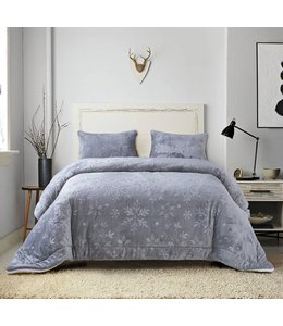 *SLOANE FLEECE/SHERPA COMFORTER SET GREY (MP2)