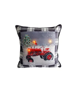 "LED RED TRACTOR BLACK PLAID CUSHION 18X18"" BLACK/WHITE/RED (MP6)"