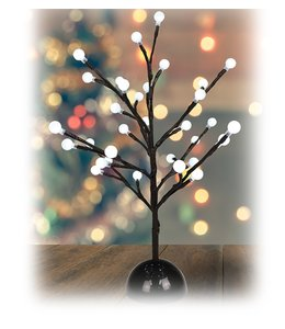 "HOLIDAY BALL BRANCH TREE w/LED LIGHTS BROWN 15.75"" (MP8)"