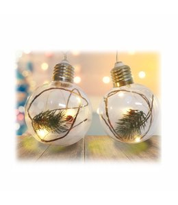 "HOLIDAY 10pc LED ROUND LIGHT BULB w/PINE BRANCH STRING LIGHTS 53"" LONG (MP12)"