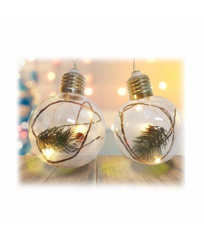 "HOLIDAY 10pc LED ROUND LIGHT BULB w/PINE BRANCH STRING LIGHTS 53"" LONG (MP12)"