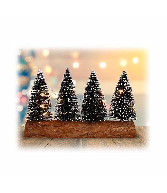"""HOLIDAY LED PINE TREES w/WOOD LOG BASE 8X5"""" (MP12)"""